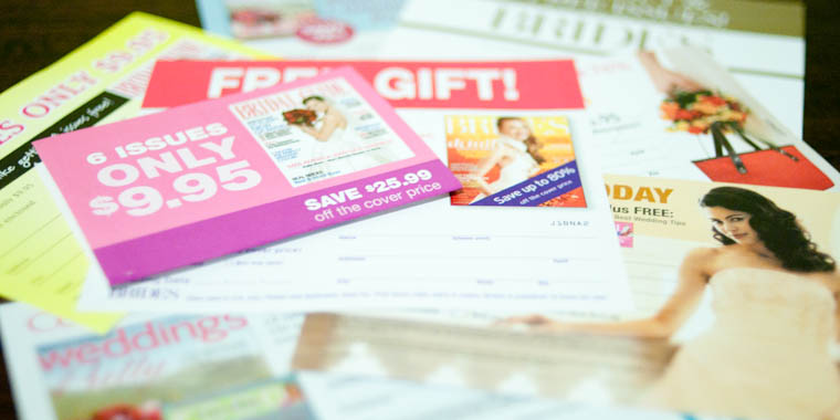 Stack of bridal magazine subscription cards