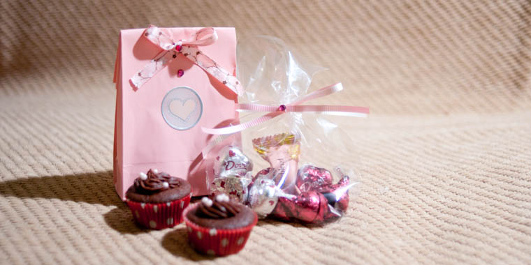 Valentine's Day Gift consisting of mini cupcakes and chocolates