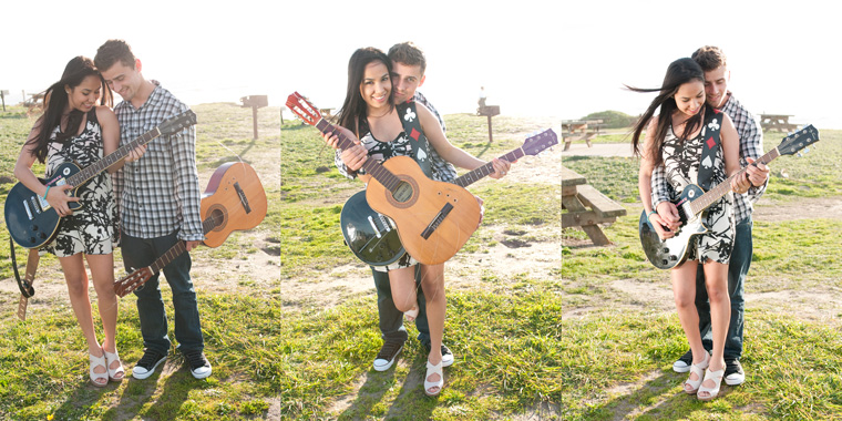 Three photos of Sendy and Bryan posing with guitars in Half Moon Bay