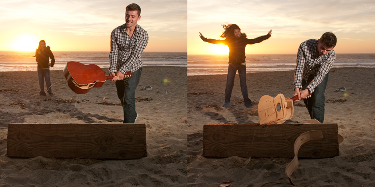 Bryan breaking his guitar in Half Moon Bay