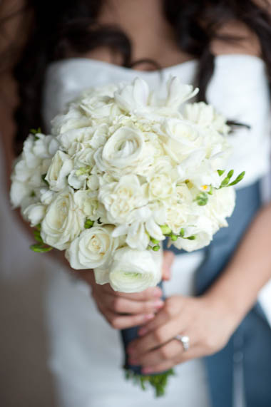 Sendy Holding Her Bouquet