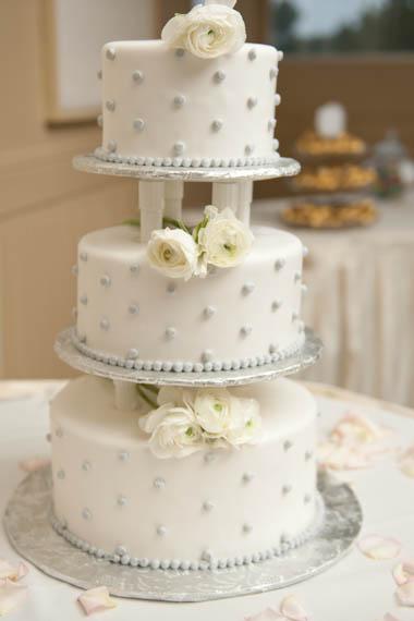 Three Level White Wedding Cake